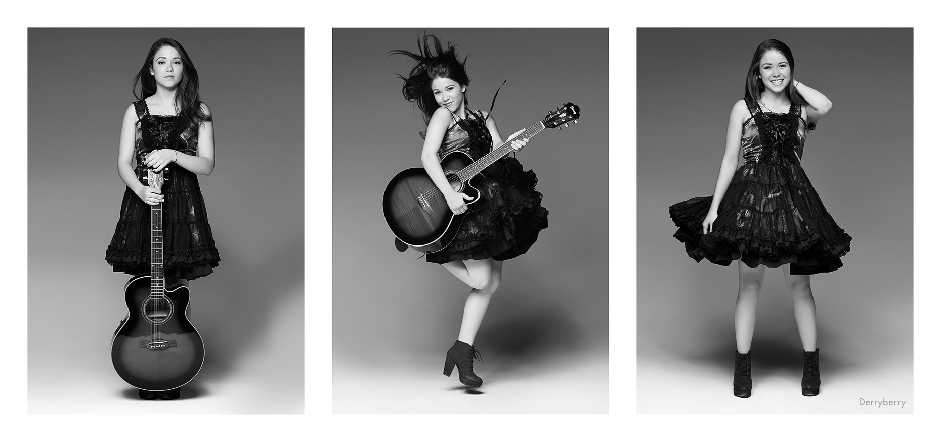 Triptych black and white portrait of Charlotte Clark with her guitar and in a Harajuku dress in the studio  in Dallas, Texas by photographer John Derryberry Photography
