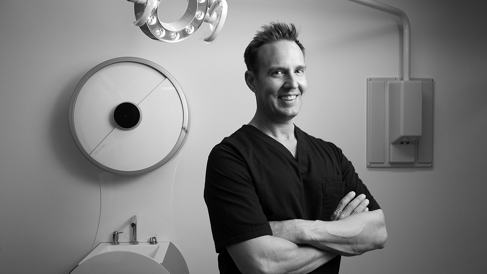 Black and white portrait of a dental surgeon by photographer John Derryberry Photography
