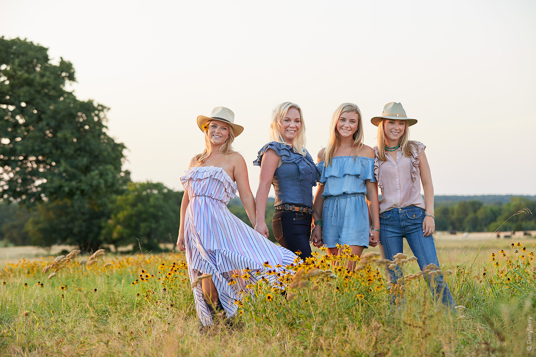 Family portrait of the Caffey women on the Ranch outside Collinsville, North Texas,