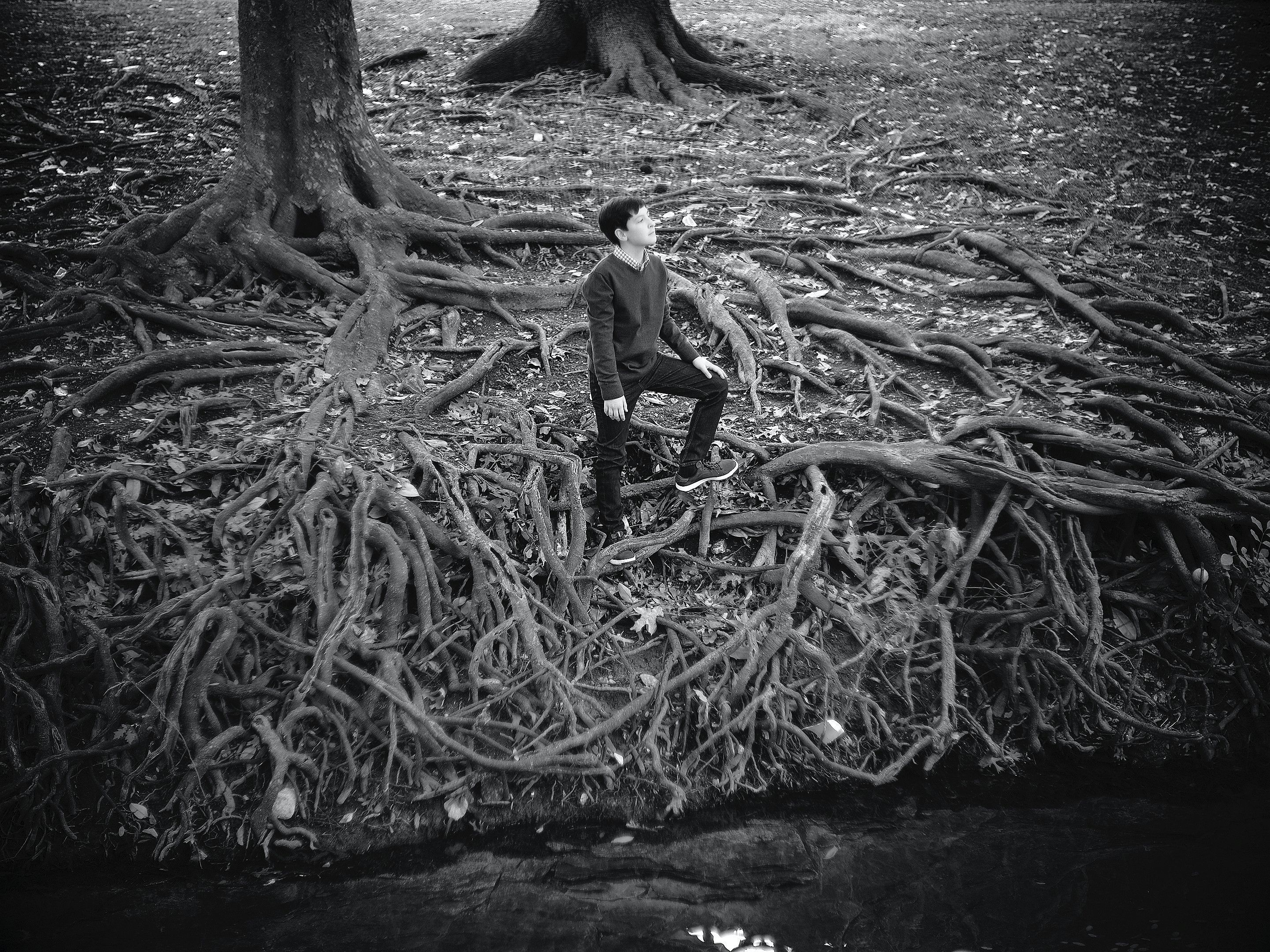 Black and white bokeh portrait  with a vintage lens of boy sitting  in tree roots  in Dallas, Texas by photographer John Derryberry Photography