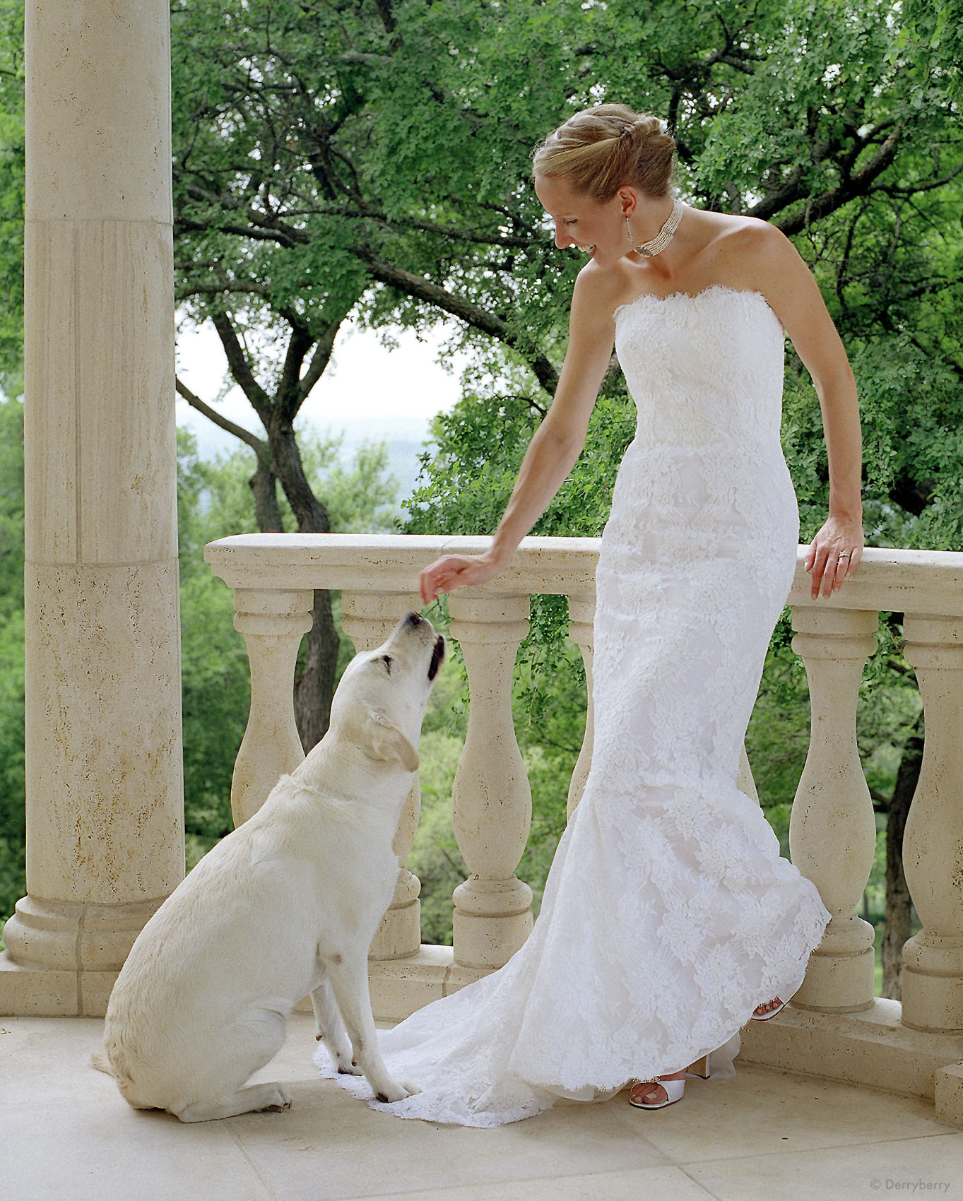 Color location portrait of Yost bride  standing and leaning on a balustrade   with her white lab  in Ft. Worth , Texas  by photographer John Derryberry Photography
